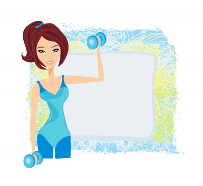 Girl Lifting Weights Cartoon